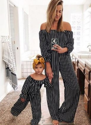 Mommy and Me Stripe Casual Long Sleeve Family Outfits (146700113)