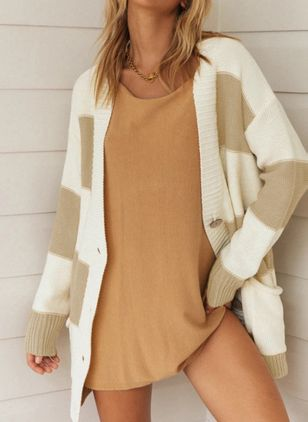 Long Sleeve Collarless Buttons Pockets Sweaters Coats (100547603)