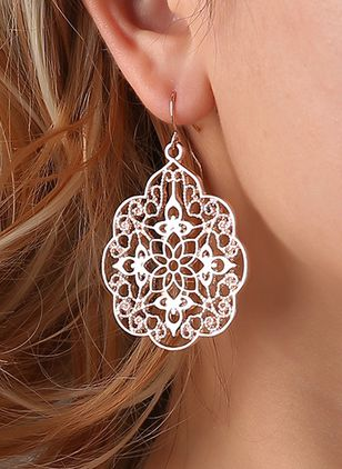 Casual Floral No Stone Dangle Earrings (147059149)