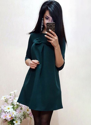 Solid Bow 3/4 Sleeves Mini Shift Dress