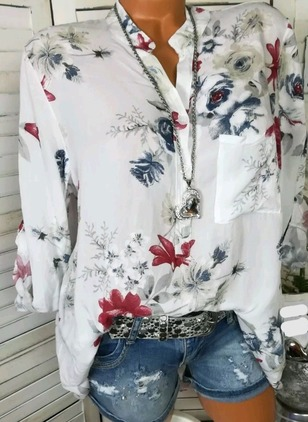 Floral Casual Polyester High Neckline Long Sleeve Blouses