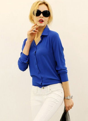 Solid Casual Polyester Collar Long Sleeve Blouses