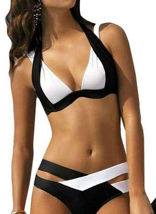 Summer Halter Color Block Bikinis Swimwear (1520573)