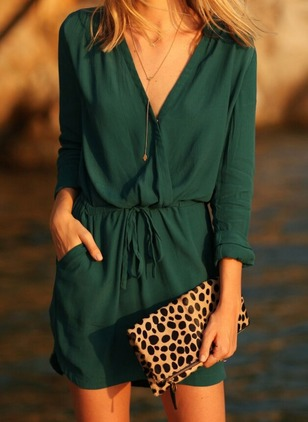 Solid Wrap Long Sleeve Above Knee Shift Dress