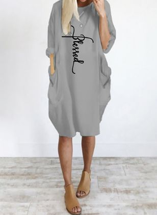 Casual Alphabet Tunic Round Neckline Shift Dress (4081564)
