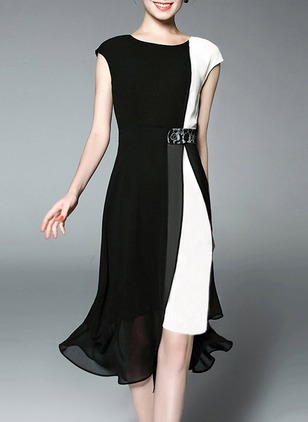 Color Block Wrap Cap Sleeve Knee-Length Sheath Dress