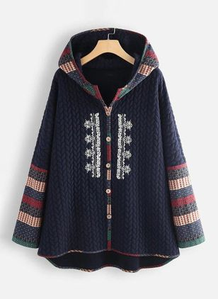 Long Sleeve Hooded Buttons Coats (120649513)