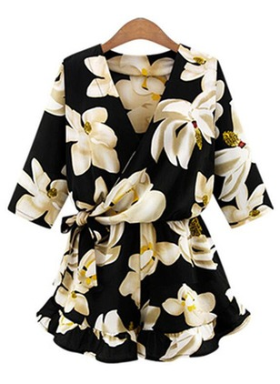 Polyester Floral Half Sleeve Flare Sleeve Jumpsuits & Rompers