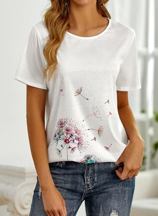 Floral Casual Round Neckline Short Sleeve Blouses (146896854)