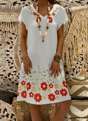 Casual Floral Tunic V-Neckline Shift Dress (1347594)