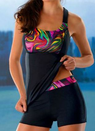 Polyester Color Block Tankinis Swimwear (147018979)