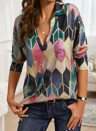 Color Block Casual Collar Long Sleeve Blouses (146794905)