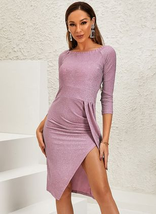 Sexy Solid Pencil Off the Shoulder Sheath Dress (128229557)
