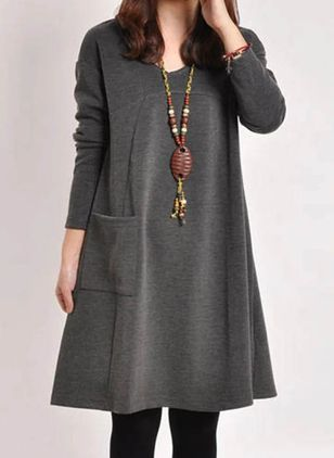 Casual Solid Tunic V-Neckline A-line Dress (112237566)