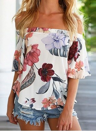 Floral Casual Chiffon Boat Neckline Short Sleeve Blouses