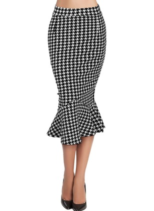 Polyester Check Mid-Calf Casual Skirts