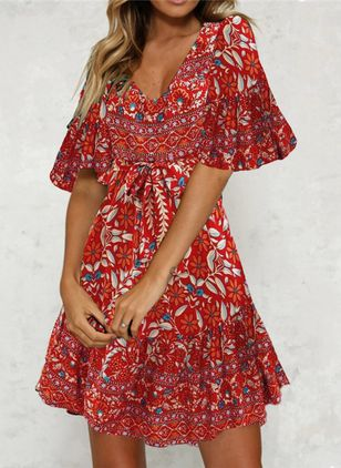 Casual Floral Shirt V-Neckline Shift Dress (101985457)