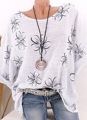 Floral Casual Round Neckline 3/4 Sleeves Blouses (4073228)