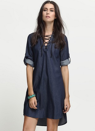 Linen Solid Short Sleeve Above Knee Dresses