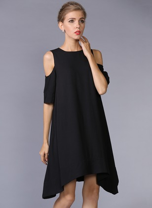 Solid Short Sleeve High Low Shift Dress