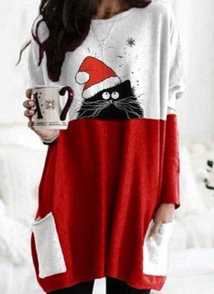 Christmas Animal Tunic Round Neckline Shift Dress (146718535)
