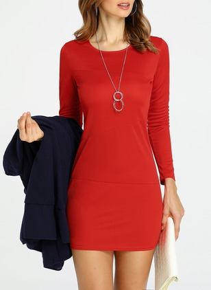 Solid Pencil Long Sleeve A-line Dress