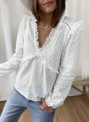Solid Casual V-Neckline Long Sleeve Blouses (146981699)