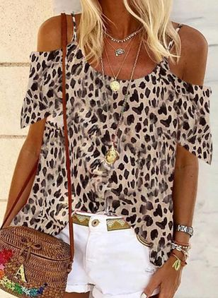 Leopard Casual Camisole Neckline Sleeveless Blouses (147065682)
