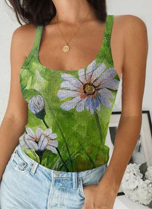 Floral Camisole Neckline Sleeveless Casual T-shirts (147225567)