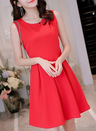 Cotton Solid Skater Sleeveless A-line Dress