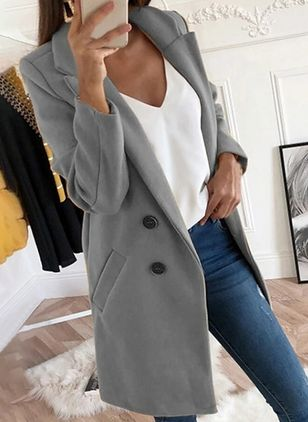 Long Sleeve Lapel Buttons Pockets Coats (104135444)
