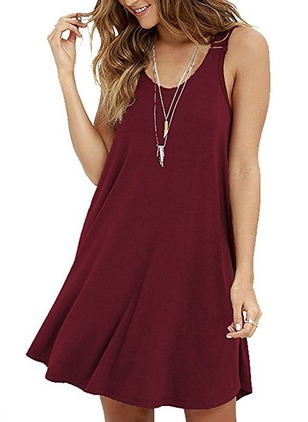 Solid Tank Camisole Neckline Sleeveless Shift Dress