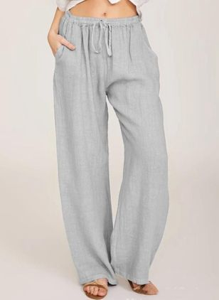 Casual Loose Pockets Mid Waist Cotton Blends Pants (122030776)