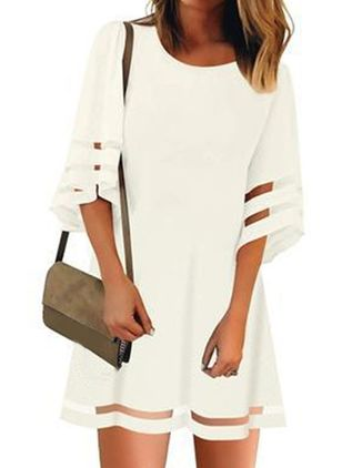 Casual Solid Tunic Round Neckline A-line Dress (146987779)