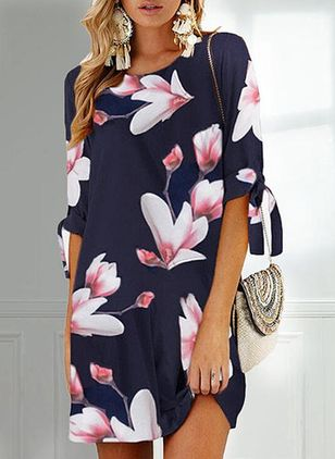 Casual Floral Tunic Round Neckline Shift Dress (5242960)