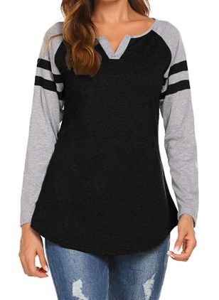 Color Block V-Neckline Long Sleeve Casual T-shirts (1425000)