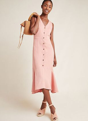 Solid Buttons Sleeveless Midi X-line Dress