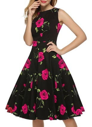 Cotton Floral Sleeveless Knee-Length A-line Dress