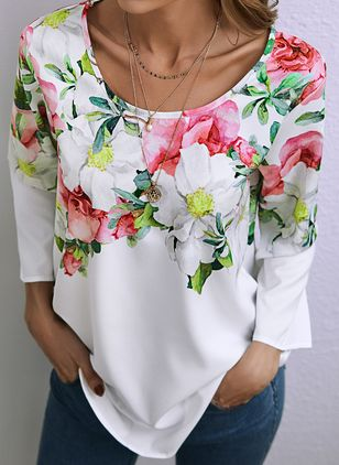 Floral Spring Round Neckline 3/4 Sleeves Blouses (146943431)