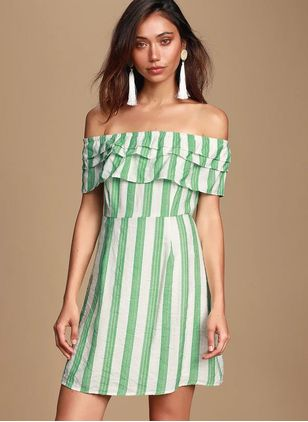Stripe Ruffles Skater Off the Shoulder X-line Dress