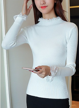 Cotton High Neckline Solid Tight Others Sweaters