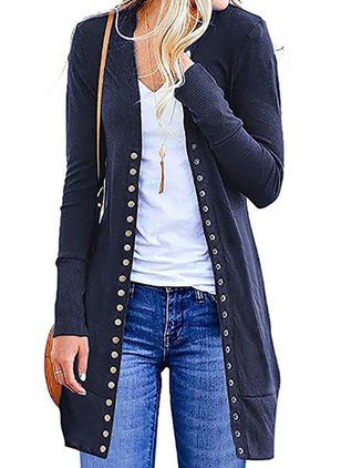 Long Sleeve Collarless Buttons Coats (107251325)