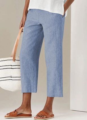 Casual Straight Pockets High Waist Cotton Pants (147091318)