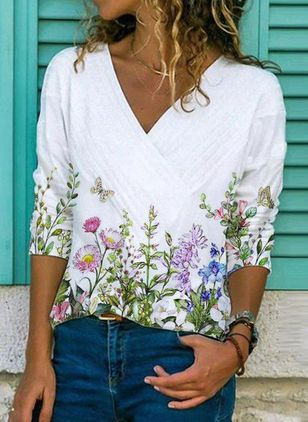 Floral Casual V-Neckline 3/4 Sleeves Blouses (146981744)