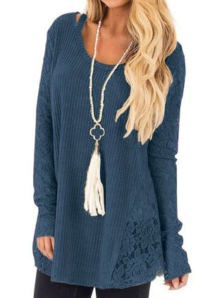 Round Neckline Solid Casual Loose Regular Hollow Out Sweaters (107251341)