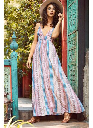 Color Block Tassel Slip Maxi X-line Dress