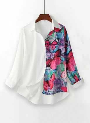 Animal Casual Collar Long Sleeve Blouses (146957977)