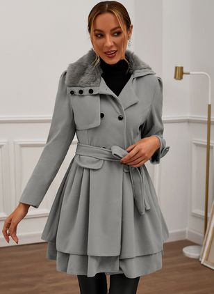 Long Sleeve Collar Sashes Buttons Coats (122029273)