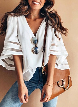 Solid Casual Chiffon V-Neckline Half Sleeve Blouses