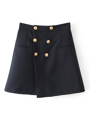 Polyester Solid Above Knee Casual Pockets Buttons Skirts